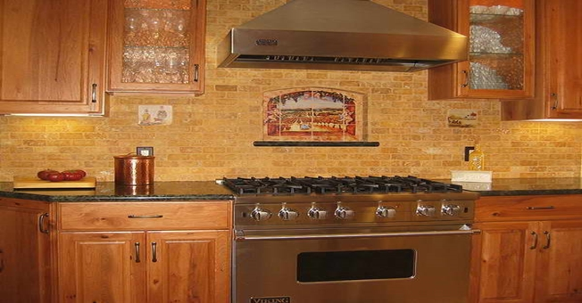 Rustic Brick Kitchen Backsplash Designs Stainless Steel Range Hood